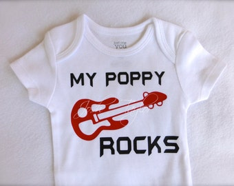 Customizable Baby My Papa Rocks Bodysuit Grandparent Gift Guitar