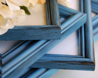 Rustic chic photo frames: Set of 5 vintage antique blue hand-painted decorative wooden wall collage gallery picture frames for the home