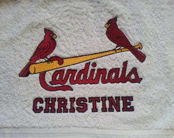STL Cardinal Embroidered Towel with Personalization