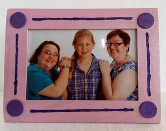 Pink and purple glitter frame, 4x6 painted picture frame, pink photo frame, purple polka dot photo frame, pink purple glitter stripe frame