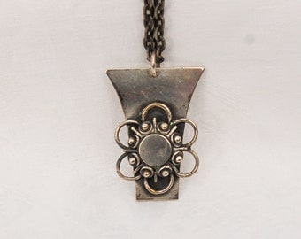 Vintage Large Pendant / Necklace from the 1950s on a long chain.