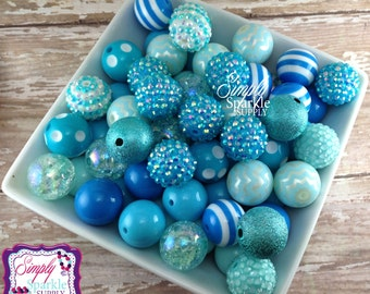 Blue Bulk Wholesale lot 100 chunky bead  mix solids dots and rhinestones 20 mm wholesale chunky beads