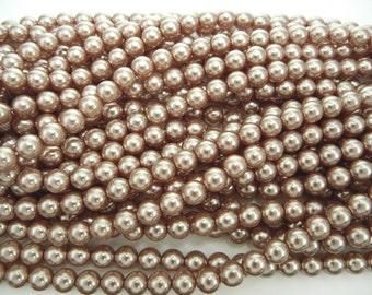 Light Brown Pearl, Czech Round Glass Imitation Pearls in 2mm, 3mm, 4mm, 6mm, 8mm, 10mm, 12mm