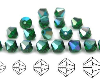 Medium Emerald AB coated, Czech MC Bicone Bead (Rondell, Diamond Shape) in 3mm, 4mm and/or 6mm, Green AB Color Beads, Aurora Borealis