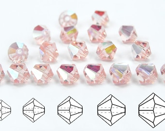 Rosaline AB coated, Czech MC Bicone Bead (Rondell, Diamond Shape) in 3mm, 4mm and/or 6mm, Pink AB Coated Beads