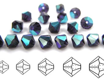Tanzanite AB coated, Czech MC Bicone Bead (Rondell, Diamond Shape) in 3mm, 4mm and/or 6mm, Purple AB Coated Beads, Aurora Borealis Crystals