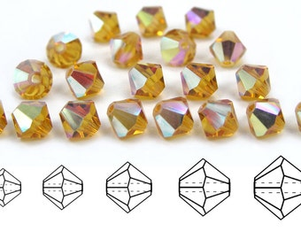 Topaz AB coated, Czech MC Bicone Bead (Rondell, Diamond Shape) in 3mm, 4mm and/or 6mm, Light Brown AB Beads, Aurora Borealis Crystals