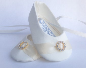 IVORY or WHITE Personalized With Gold Tan Embroidery Baby Girl Baptism Shoes, FREE Personalization, Wedding Shoes Christening Shoes