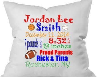 Personalized birth announcement throw pillow.  Baby boy.  Sports.