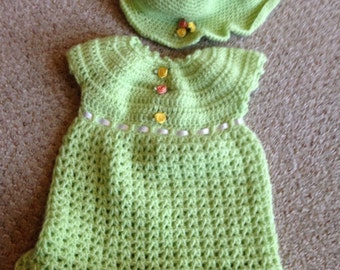 Infant crocheted dress and hat