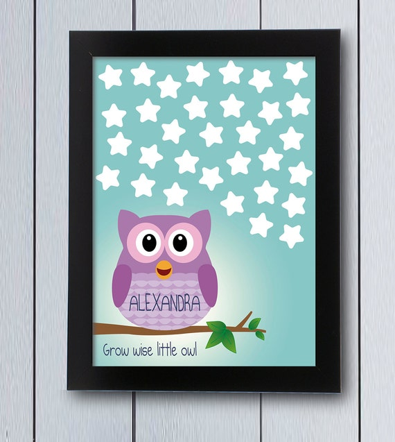 Owl Themed Baby Shower Guest Book First Birthday Printable