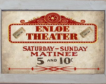 Personalized Primitive Home Theater Matinee Movie Ticket Cinema Home Decor Rec Room Wall Art Sign