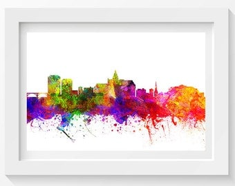 Saskatoon Saskatchewan Skyline In Color Poster, Home Decor, Gift Idea 02