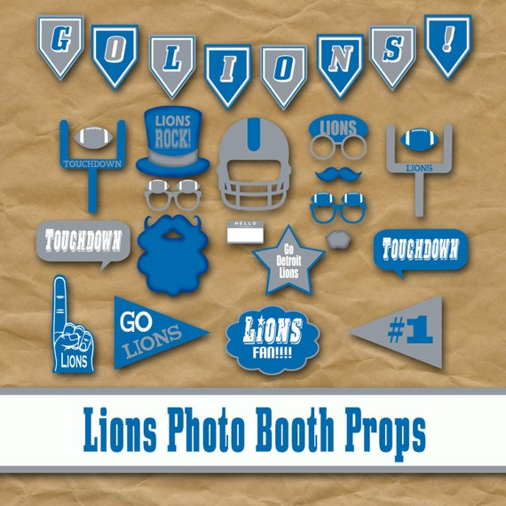 Detriot Lions Football Printable Photo Booth Props