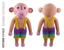 Crochet toy monkey DAD, amigurumi PATTERN animal large, softie pdf