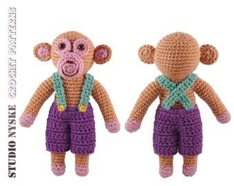 Crochet pattern, amigurumi monkey BOY, stuffed toy tutorial pdf