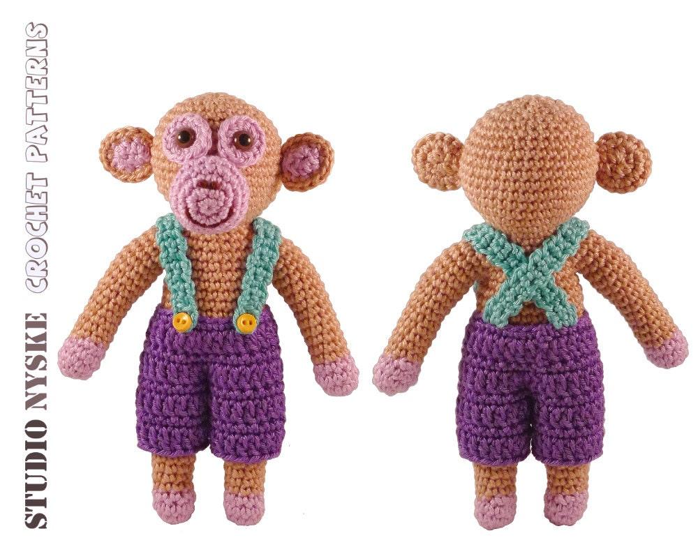 Crochet Toys For Boys : Crochet pattern amigurumi monkey boy stuffed toy by
