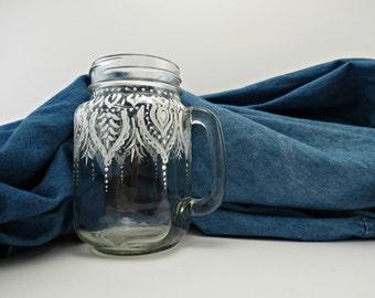 Mason jar mug - henna inspired, white, hand painted