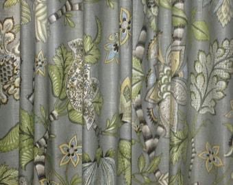 Floral Curtains Kaufmann Clarice Dove Curtain Panels Grey Floral Curtains Green Curtains ONE PAIR