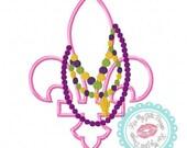 Mardi Gras Fleur de Lis with Beads Machine Embroidery Applique Design