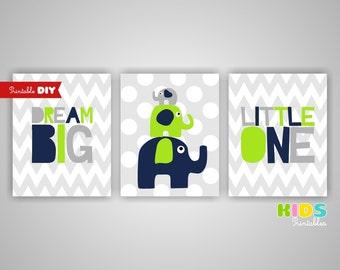 Printable DIY Nursery Prints, Lime green, Navy, Dream Big Little One, Elephant, Set of 3, 8x10 jpg ( cc091 ) ( 012s810 )