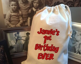 Personalised 1st First Birthday Cotton Drawstring Gift Bag - Various Sizes Ever Design