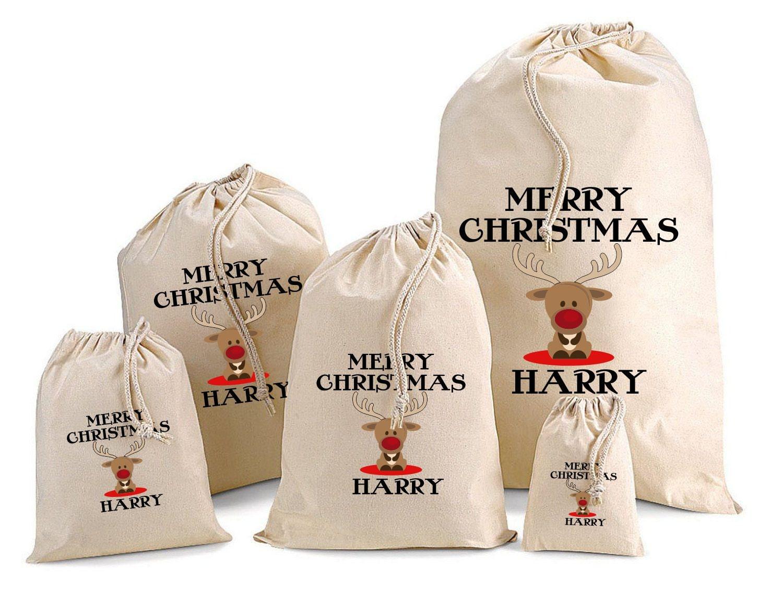 Baby Gift Sack : Personalised baby reindeer santa sack gift bags