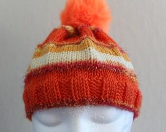 Handmade Orange Fizz Sparkle baby hat