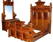 6590 Amazing Antique 19th C. American Carved Burled Walnut Bed & Dresser