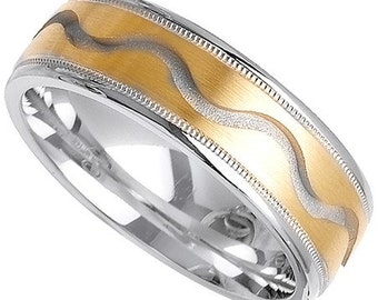 14k Yellow & White Gold Band (7MM)