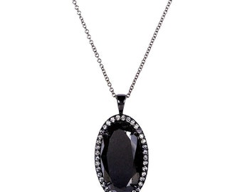 Black and White Diamond Oval Pendant 12 Carat (ctw) in 14k Black Gold (Certified)