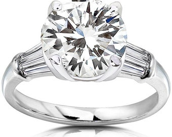 Round Moissanite & Diamond Engagement Ring 3 3/4 Carat (ctw) in 14k White Gold