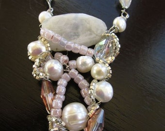 Dreamy Moonstone Pearl Wire Wrapped Necklace