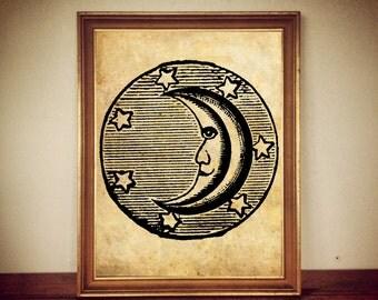 Moon and stars antique print, celestial illustration, magic art, sky poster, vintage home decor #75
