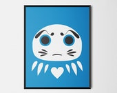 Japanese Daruma Print Pop Art Wish Doll Illustration Poster [blue]