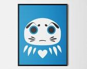 Japanese Daruma Print Pop Art Wish Doll Illustration Poster [blue]