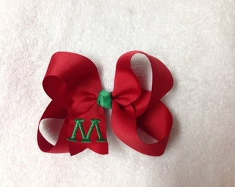 "6"" monogrammed christmas hair bow"