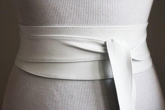 White soft Leather Obi Belt Corset Belt Real Leather Belts