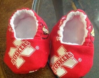 Reversable Nebraska Husker Baby Booties
