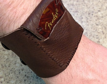 Leather Guitar Pick Holder Wristband