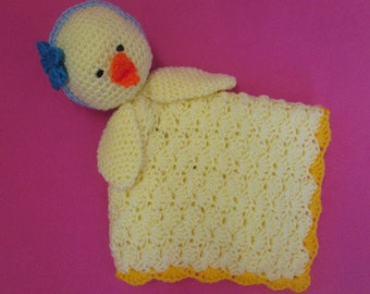 Handmade Crocheted Baby Easter Chick Lovey Blanket/Baby Shower Gift