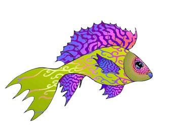 11x14 Purple Pisces Fish Print