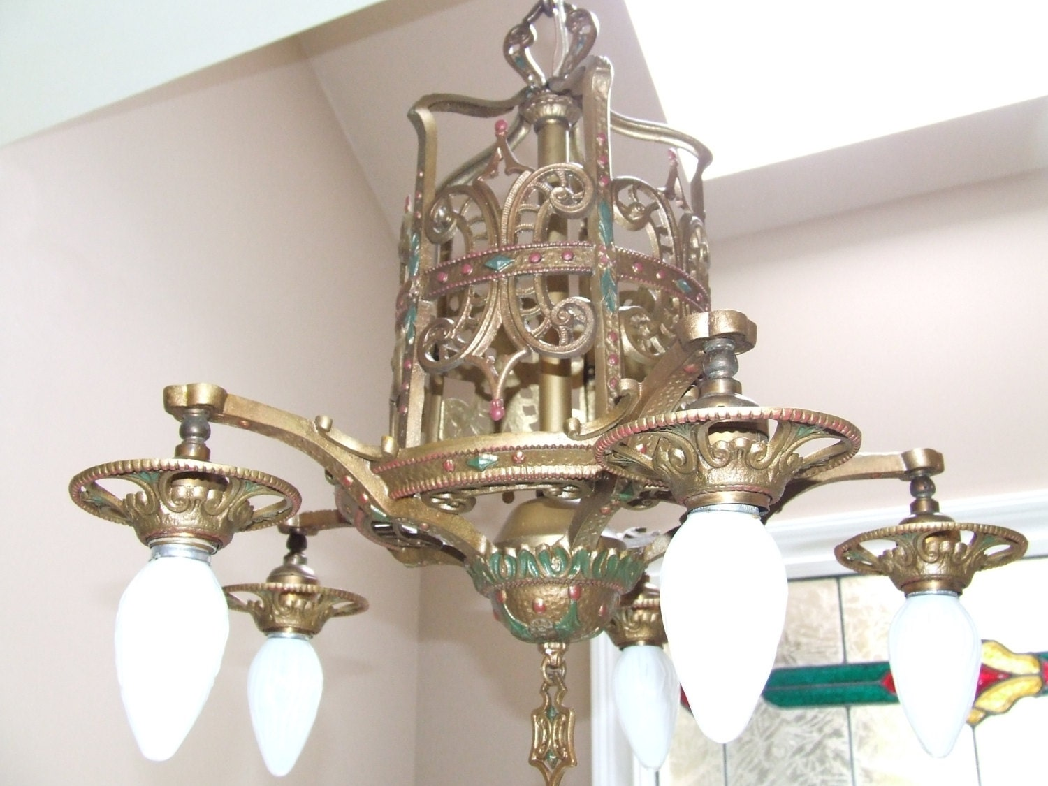 Antique Vintage Spanish Revival 5 Light By Retrodelights1