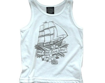 Tank top, white, kids, Sailor's print, UNDER MY SKIN, hand-printed, limited edition