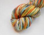 SALE Whatchamacallit Hand Dyed Non-Superwash Wool Yarn Bluefaced Leicester BFL Aran Speckled Variegated Orange Yellow Aqua Black White