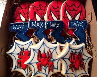 Decorated Spiderman Sugar Cookies, Spiderman Themed Party Cookies