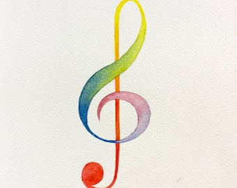 Treble clef painting. Painting of music symbol. Painting of treble clef, symbol of music. Music painting. Rainbow watercolour painting.