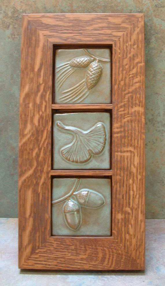 3 framed tile 3 tiles pine cone gingko leaf acorn for Arts crafts tiles