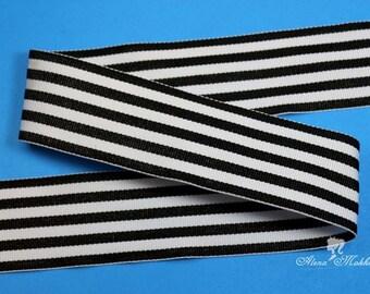 """5 yards 1.5"""" Black White Stripes Monarch Woven Grosgrain Ribbon"""