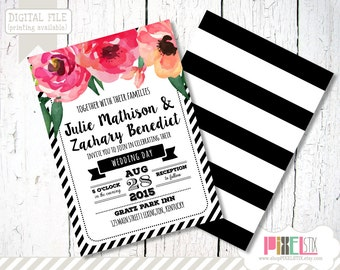 Trendy Wedding Invitation Design - CUSTOMIZABLE AND PRINTABLE - Floral Black and White Striped Invitation -